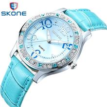 Mujeres del reloj SKONE de marca de lujo moda Casual relojes del cuarzo del cuero del deporte de la señora relojes mujer mujeres muchacha de 9243