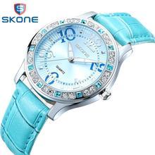 Mujeres del reloj SKONE de marca de Moda de lujo de cuarzo Ocasional relojes deportivos de cuero de la Señora relojes mujer relojes de las mujeres Vestido de La Muchacha 9243(China (Mainland))