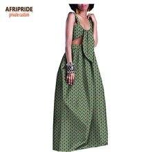 2018 summer skirt set for women AFRIPRIDE customized african print tank top+floor length casual cotton A1826018