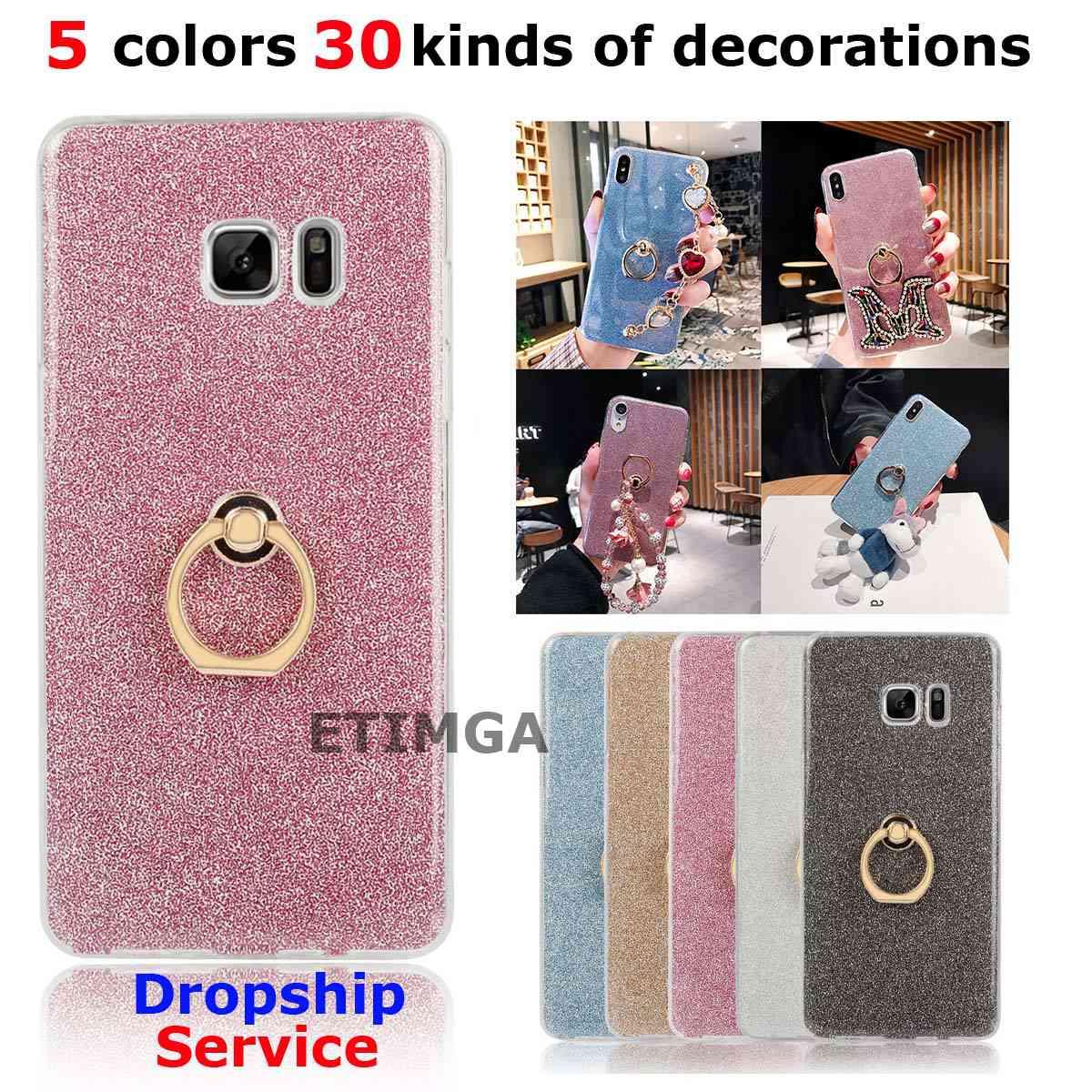 Glitter Finger Ring Stand Case for Samsung Galaxy Note 7 Case for Samsung Note 7 Cover Siliocne Case Decoration Shockproof