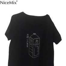 NiceMix Water Bottle Unisex Loose T-Shirt Summer Cotton BF Style T Shirt Fashion Casual Short Sleeve TEE Tops Colors Black/White