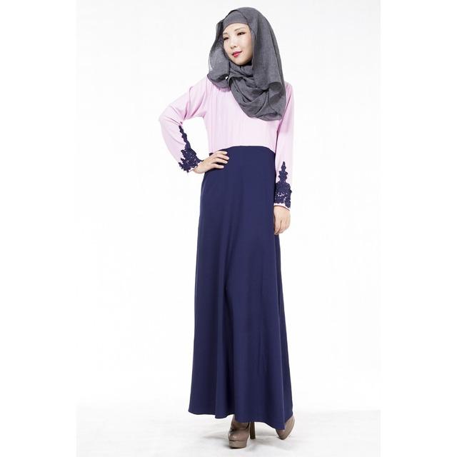 2016 Moda de Nova Chegada Especial Venda quente do laço Apliques Jilbabs E Abayas Malaysian Vestido Dos Muçulmanos vestuário Islâmico para as mulheres 07