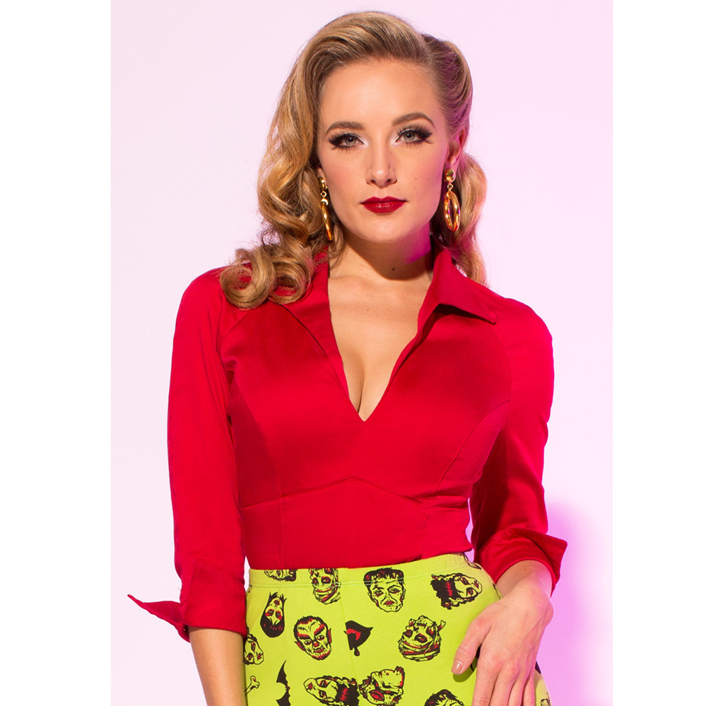 aa77e3c250b 30- women vintage 50s pinup couture Lauren work wear top in red v neck  fitted