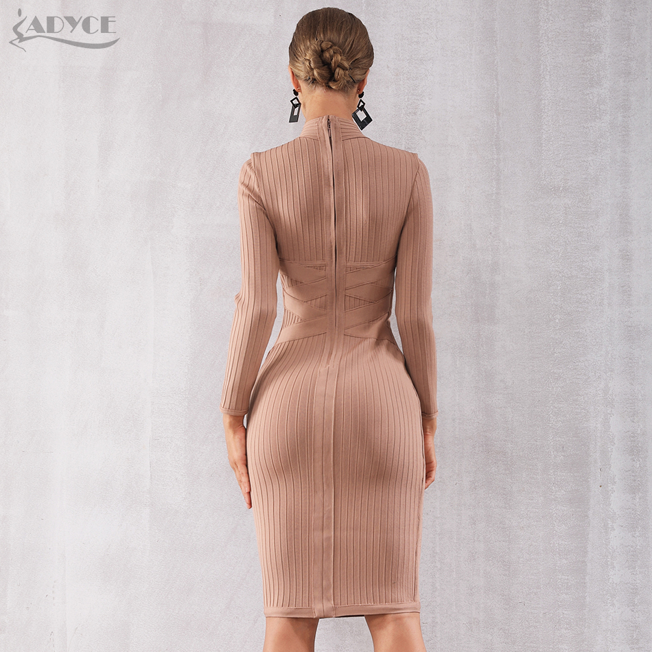 ff63d8b6eb2 Adyce 2019 New Spring Bodycon Bandage Dress Women Sexy Nude Long Sleeve Midi  Club Dress Vestidos Celebrity Evening Party Dresses-in Dresses from Women's  ...