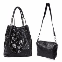 2Pcs 2018 Hot Selling Women Lady Skull Handbag Shoulder Bags Tote Purse Messenger Crossbody Set