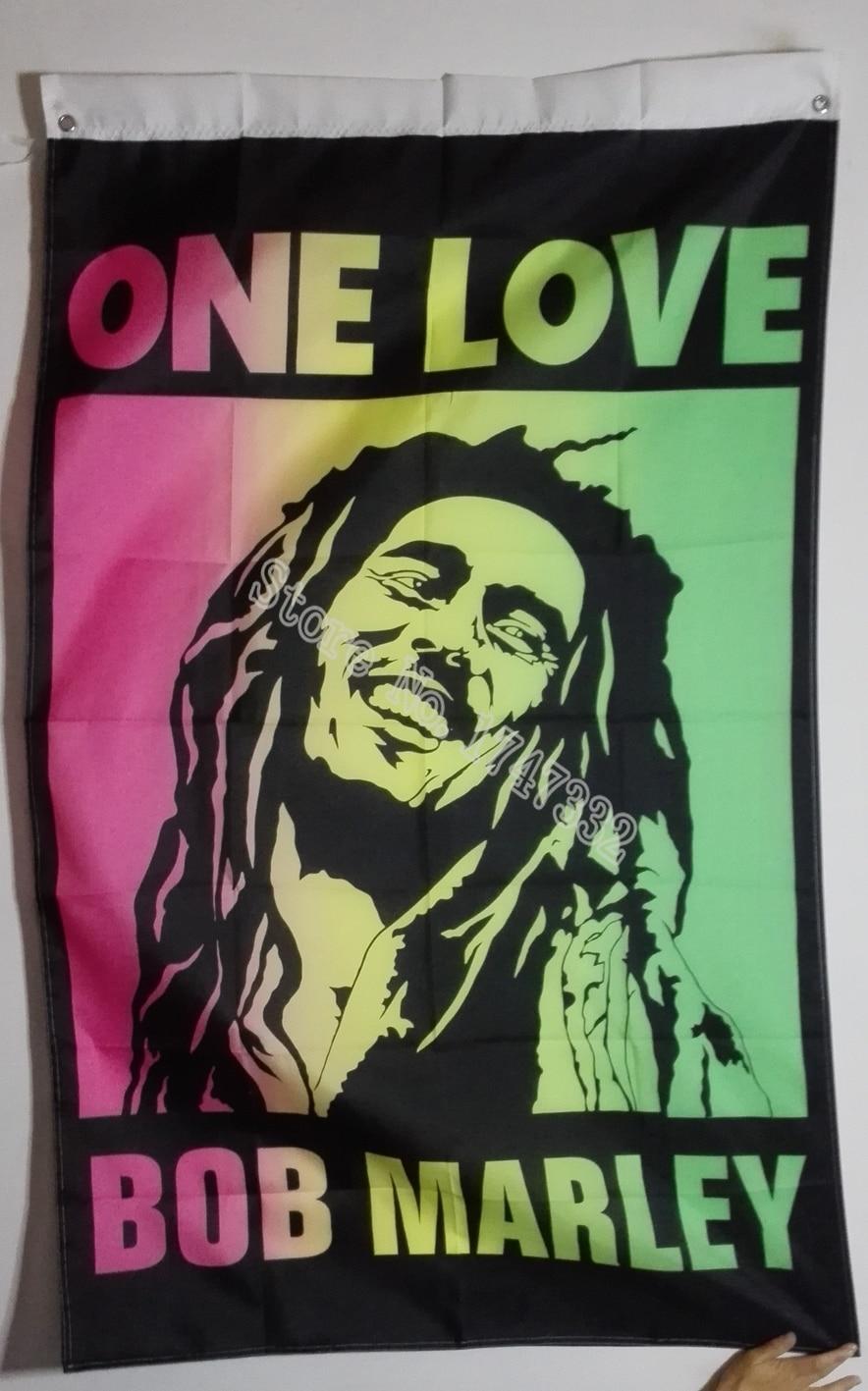 Bob Marley One Love Jamajka Rasta Flag hot prodat zboží 3X5FT 150X90CM Banner mosaz kovové otvory