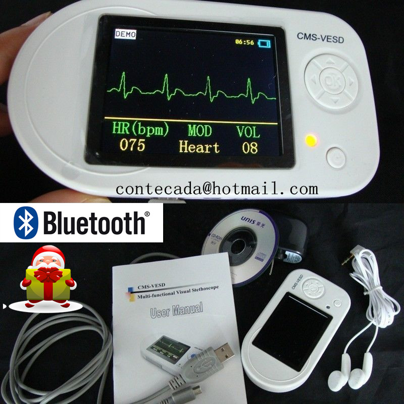 CMS-VESD Visual Digital Stethoscope ECG SPO2 PR Electronic Diagnostic Bluetooth best price multi function digital visual electronic stethoscope spo2 pulse oxygen saturation with ce approved cms m