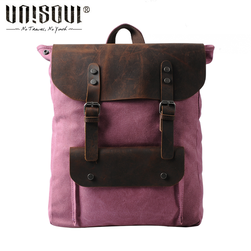 ФОТО UNISOUL Preppy Style UNisex Backpacks Cover Patchwork lady bag Vintage Canvas male Backpack Fashion bags for men
