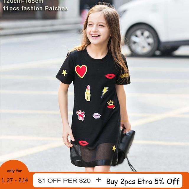 79ff28b765eac2 Summer Girls Dress for Teenager Girl Casual Dress Kiss Star Appliques Mesh  Black Kids Dresses Casual Children Dress 6 8 10 12 14
