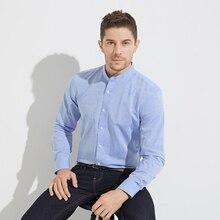 2017 new Smart Five Shirt Men Linen Cotton Long Sleeve Camisa Masculina Stand Collar Men's Dress Shirts Business Slim Fit A