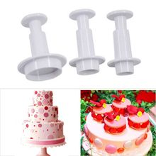 TTLIFE 3pcs Round Circle Cake Biscuit Decorating Tools Mold Cutter Birthday Party Cookies Supplies Plunger Fondant Sugar Craft decorating cookies party
