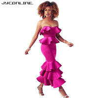 JYConline New Design Elegant Vestido Ruffles Strapless Long Women Dress Sexy Bodycon Winter Dress Celebrity Party