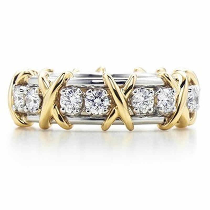 Banda de diseño clásico de marca genuina, joyería de plata de ley, anillo de diamante SONA simular, joyería de colección asequible para aniversario