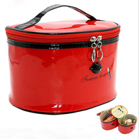 Hot 1 Set 2 Bags Brand Women Leather Cosmetic Bags Make Up Travel Toiletry Storage Box