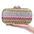Vintage Knitted Candy Mixed Women Evening Bags Diamonds Metal Day Clutches Purse Handbags Strip Style Small Bags