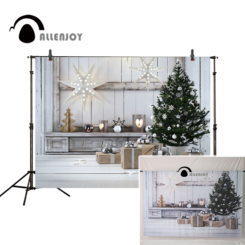 Allenjoy Christmas backdrop white star lantern decoration wooden board presents tree indoor photo background christmas christmas tree star print tapestry wall hanging art%2