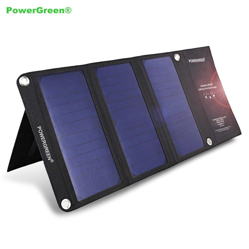 Powergreen solar banco de la energía 21 vatios portátil doble micro usb plegable