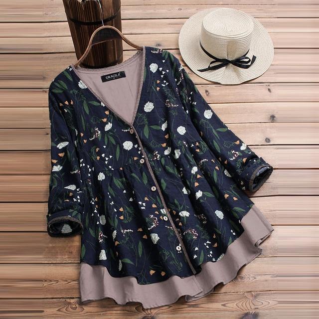 63585e76d55 Plus Size 5XL Womens Tops And Blouses 2018 Women Vintage Floral Print Long  Sleeve Blouse Clothes Boho Ladies Tops Clothing