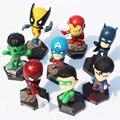 8 pçs/lote 5 cm ~ 8 cm Superheroes Marvel Avengers capitão américa X - homens hulk homem de ferro homem aranha figuras de brinquedo ação PVC