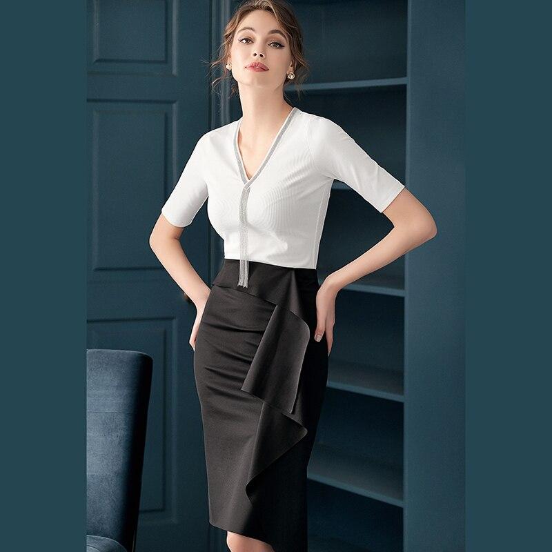 Hot Selling Fashion Vrouwen Rok Ruches Knielengte Office Lady Rok Casual Lady Rok Z1647-in Jurken van Dames Kleding op  Groep 3