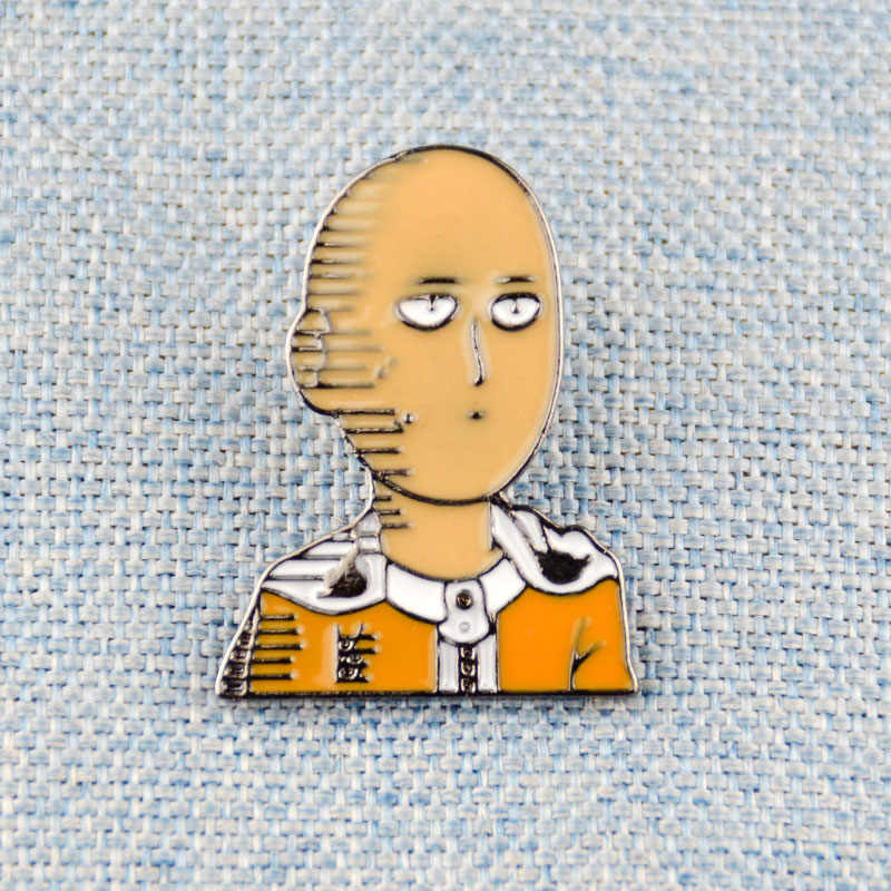 Anime One PUNCH-Man Enamel Pin Lencana Wanpanman Saitama Lapel Pin Bros