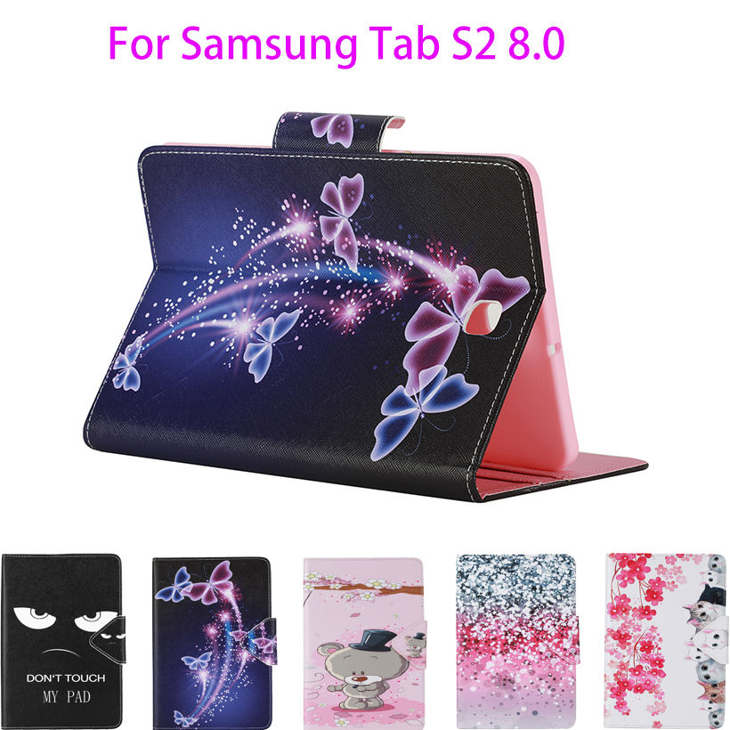 Tab S2 8.0 inch Painted PU Leather Case For Samsung Galaxy Tab S2 8.0 T710 T715 Case Cover Tablet Flower Card Slots wallet Shell new x line soft clear tpu case gel back cover for samsung galaxy tab s2 s 2 ii sii 8 0 tablet case t715 t710 t715c silicon case