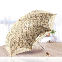 2017 New Princess Sun Umbrella Lace Parasol Umbrellas Arched UV Creative Folding Pongee Sunny Women Umbrella