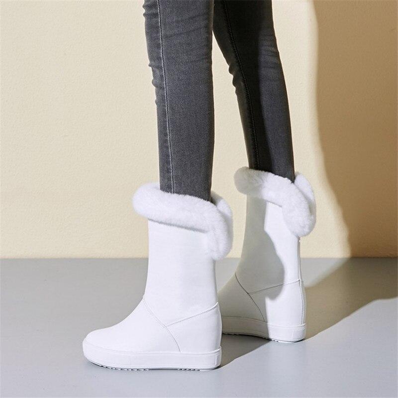 Женская обувь; коллекция 2019 года; зимняя теплая женская обувь на плоской подошве, увеличивающая рост; Повседневные Вечерние туфли на плоской подошве для свиданий - 2