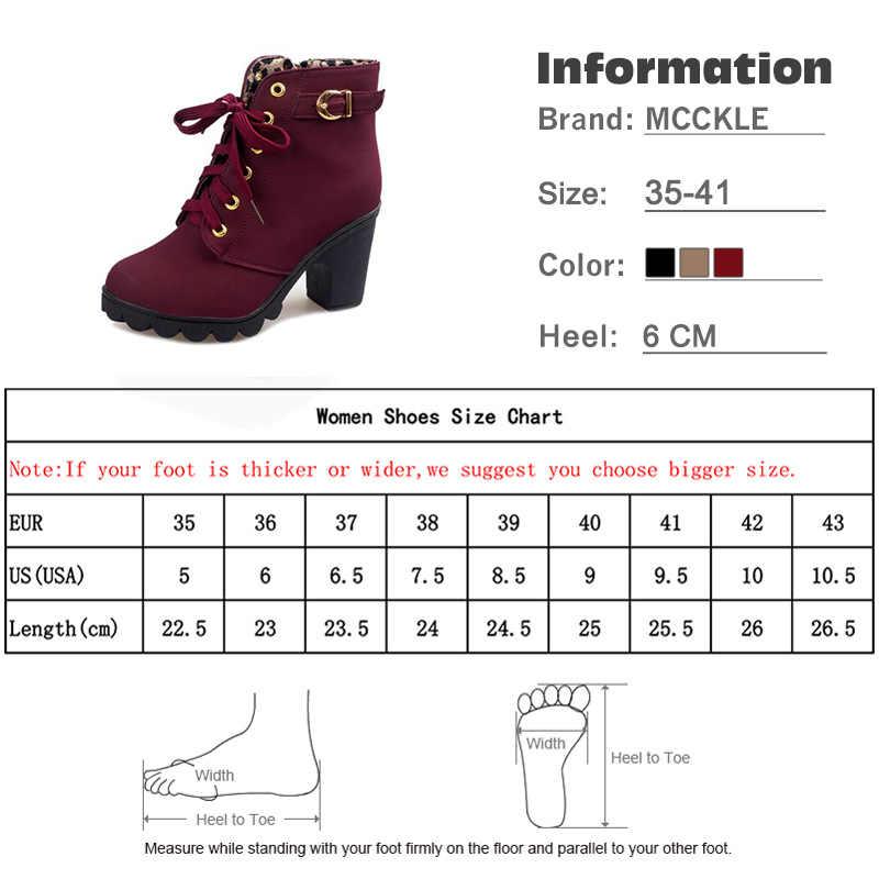 MCCKLE Artı Boyutu yarım çizmeler Kadın Platformu Yüksek Topuklu Toka Ayakkabı Kalın Topuk Kısa Çizme Bayanlar Rahat Ayakkabı Drop Shipping