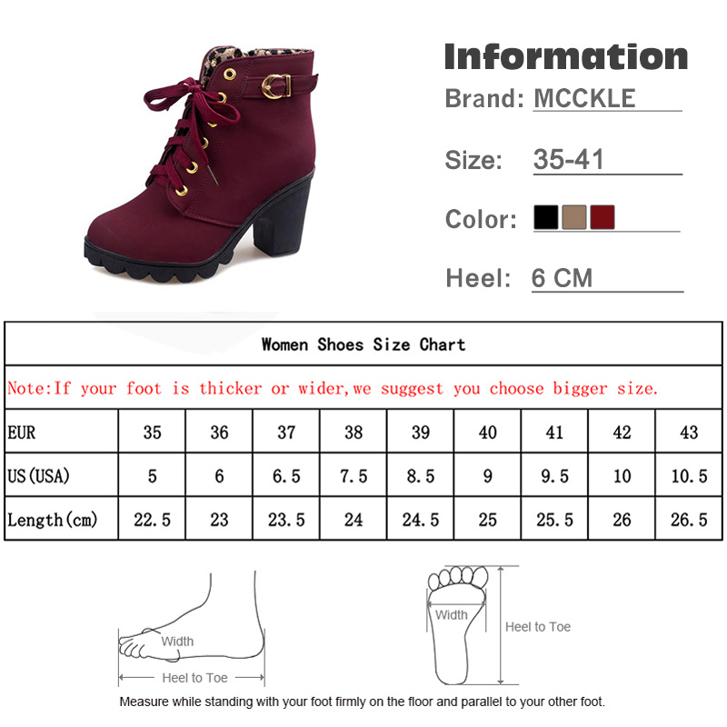 Mcckle Plus Size Ankle Boots Women Platform High Heels Buckle Shoes Thick Heel Short Boot Ladies Casual Footwear Drop Shipping #6