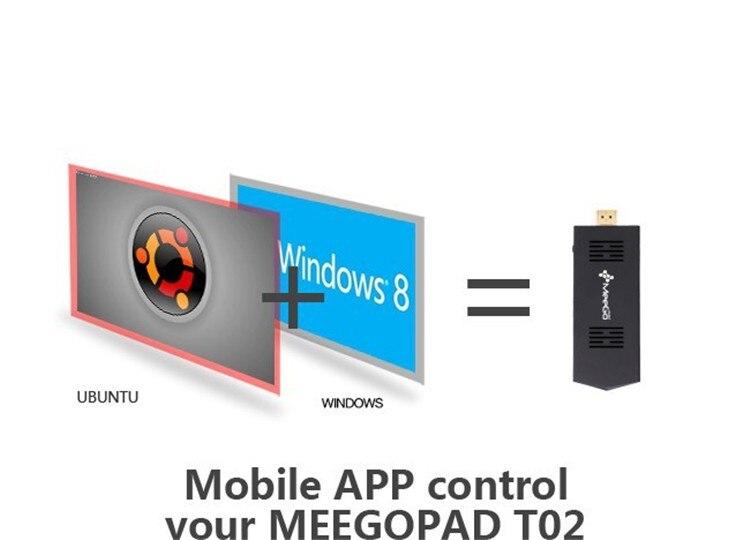 Meegopad T02 מורשים Win10 Mini PC שדרוג מ-MeeGoPad T01 מעבד Intel Z3735F מרובע ליבות 2GB/32G Wifi Bluetoot HDMI הטלוויזיה Box מקל