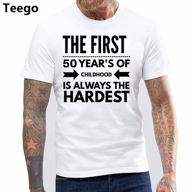 Print T Shirt Men Summer Style Funny 50 Year Old Birthday Gift 50th