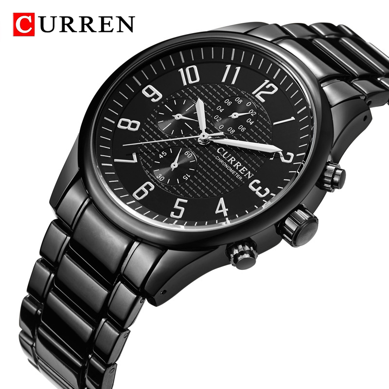 CURREN Brand Black Men Watches Luxury Sport Quartz Watch Waterproof Men's Stainless Steel Military Wristwatch Relojes Masculino