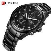 CURREN Merek Black Jam Tangan Pria Mewah Jam Kuarsa Olahraga Tahan Air Pria Stainless Steel Militer Jam Tangan Relojes Masculino
