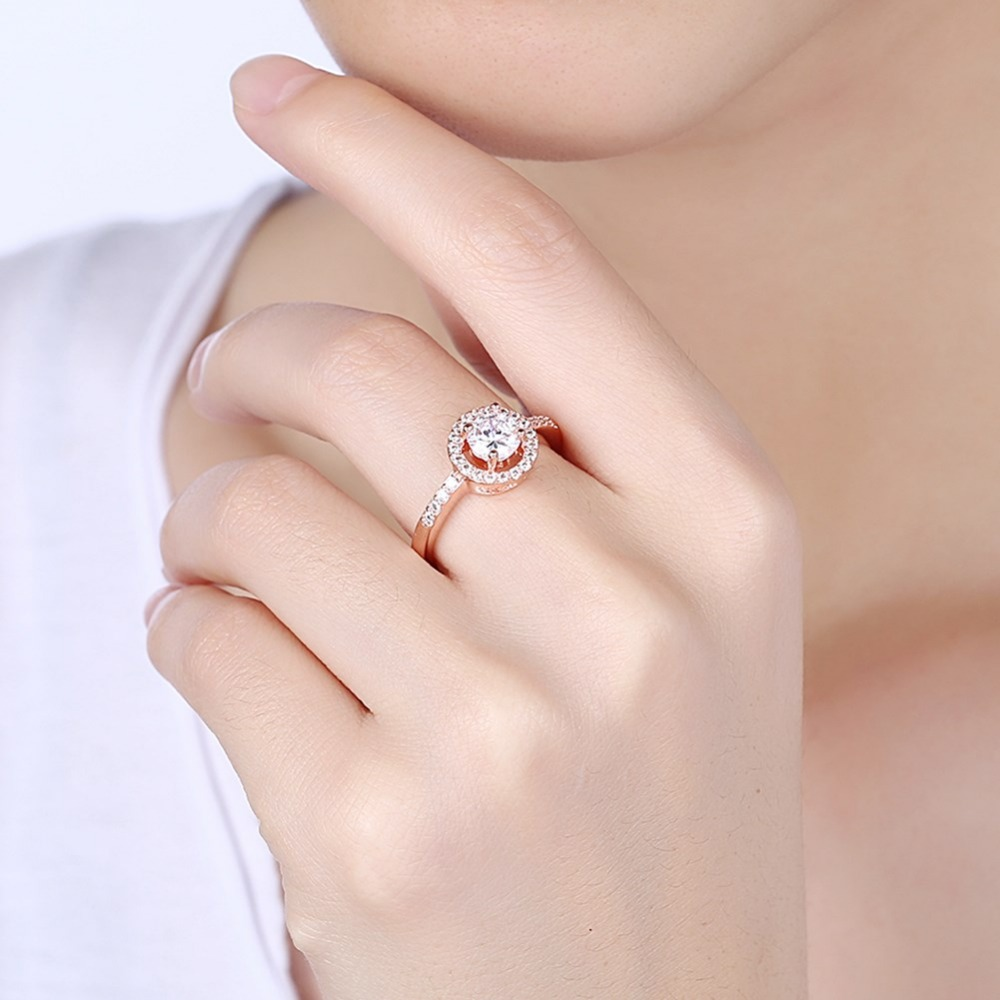 Round Cut Halo Ring Rose Gold Filled Wedding Womens Solitaire Ring ...