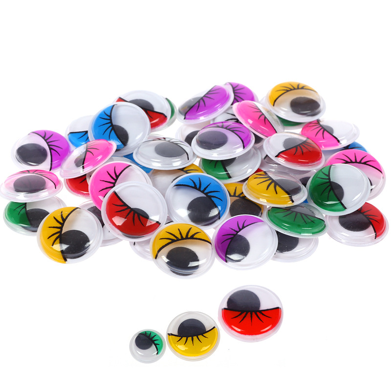 Movable Self-adhesive Eyes Creative Hand DIY With Eyelash Beads Attached Black White Eye Clay Accessories Kid Hand Material BS93