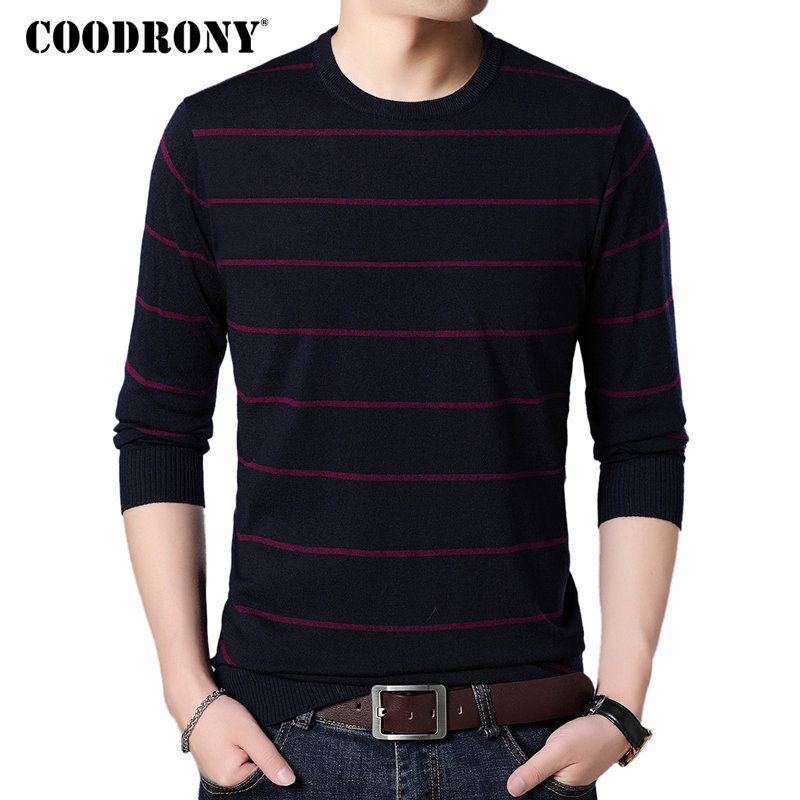 COODRONY Wool Sweater Jumper Pullover Men O-Neck Cashmere Autumn Winter Casual Soft 8224