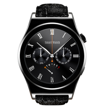 2016 X10 Fullly Round Smart Watch Heart Rate Monitor Bluetooth 4 0 Real Leather Smartwatch Arabic