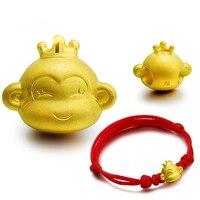 Новое поступление Чистый 999 24 K желтый золотой женский Счастливый 3D корона кулон с обезьяной 1-1,3 г