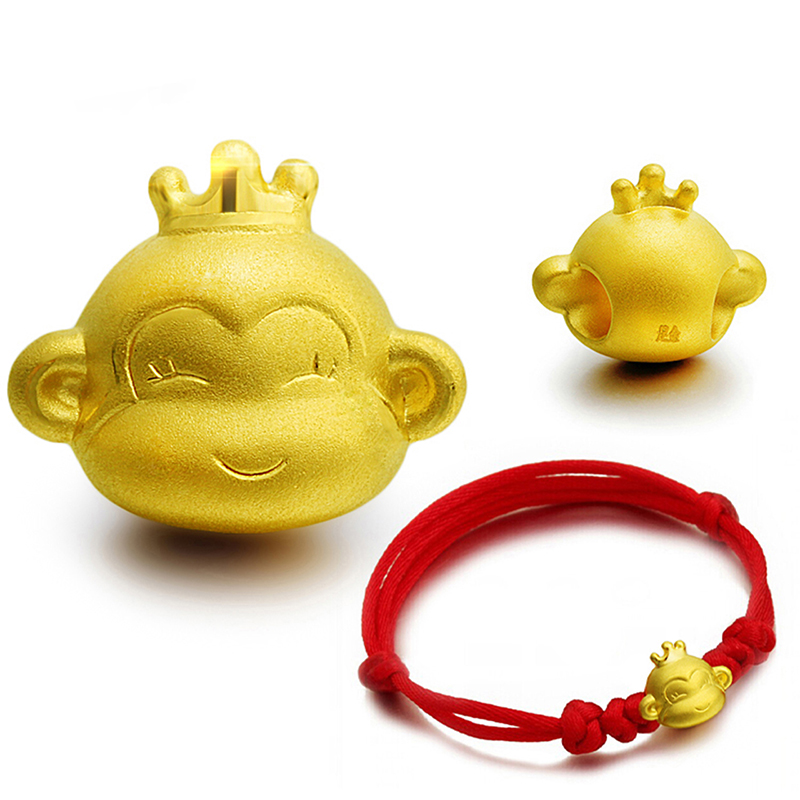 New Arrival Pure 999 24K Yellow Gold Women Lucky 3D Crown Monkey Pendant 1-1.3g