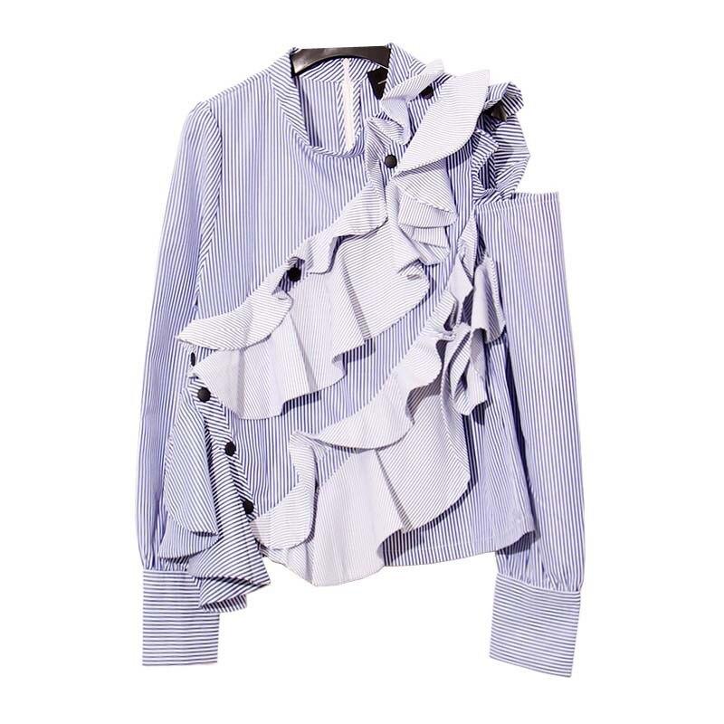 ruffles blouse shirt women 100% cotton blue striped tops shirt summer 2017 new runway fashion