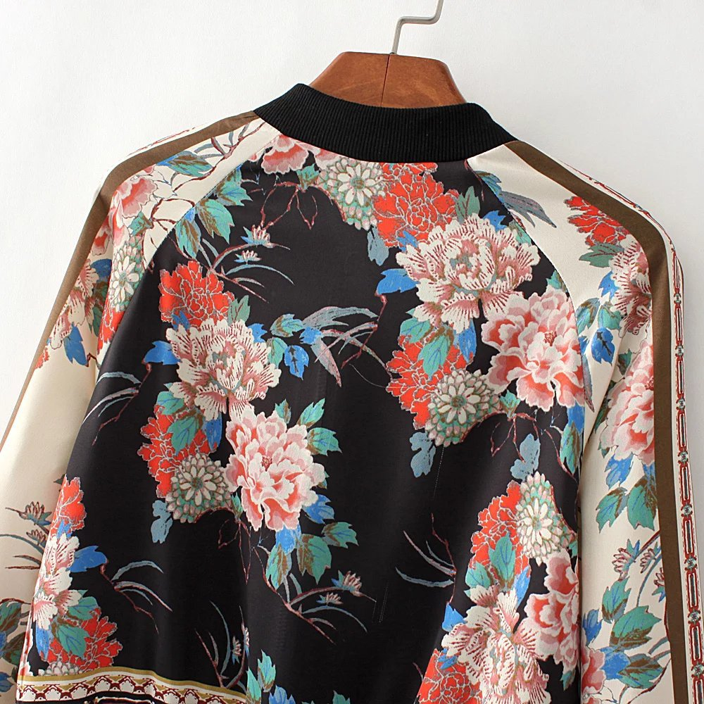 f3de2450f04 Vintage Ethnic Floral Print Short Style Bomber Jacket Women Coat 2019  Fashion V Neck Long Sleeve Lady Outerwear Casual Chic Tops-in Basic Jackets  from ...