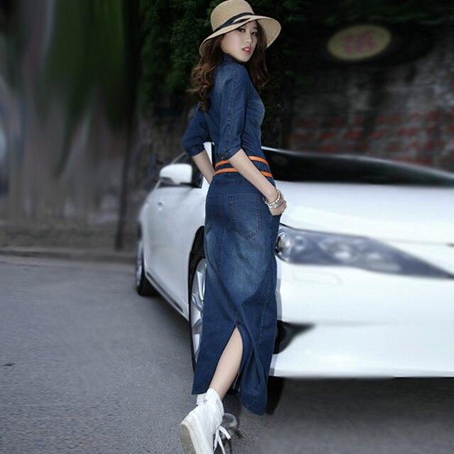 spring autumn women long denim dress plus size casual boho long ...