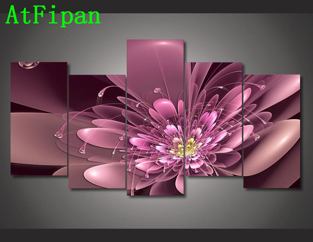 AtFipan Good Quality Modular Pictures 5P Colorful Flowers Canvas ...