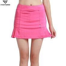 FASTORM Badminton Skirts Women High Waist 2 In 1 Pleated Running Short Skirt Anti-emptied Tennis Skorts