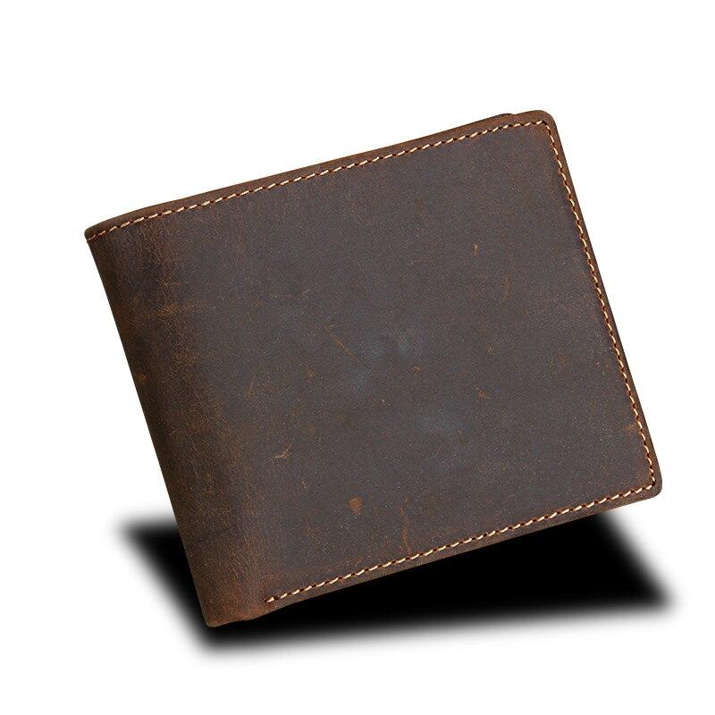 2018 Fashion Men Wallets Genuine Leather Men Wallet RFID Men Purses Small Male Wallet High Quality Card Holder Money Purses HB57 hot sale genuine leather wallet men purses vntage high quality lether men wallet brand card holder wallet free shipping