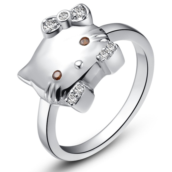 9b2796861 Fashion individuality copper Platinum plated ring luxury Micro insert  crystal beautiful Kitty cat shape rings