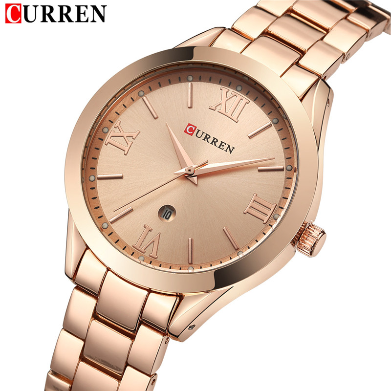 CURREN Women Watches Top Brand Luxury Gold Ladies Watch Stainless Steel Band Classic Bracelet Female Clock Relogio Feminino 9007 xinge top brand luxury women watches silver stainless steel dress quartz clock simple bracelet watch relogio feminino