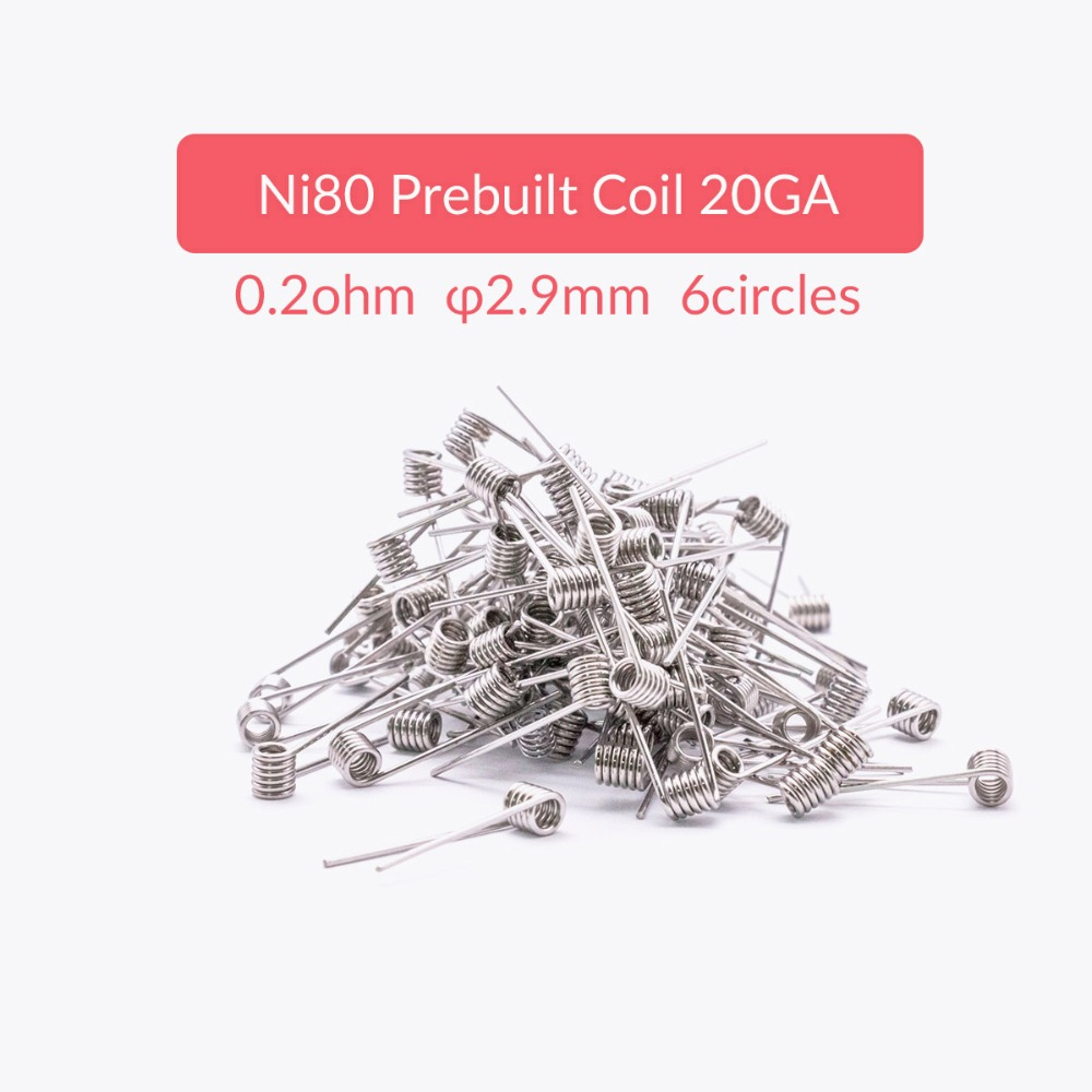 volcanee 100pcs lot ni80 coil prebuilt premade coil atomizer wick wire resistance 20 22 24 26 28 30ga heating coil wire for vape in electronic cigarette  [ 1000 x 1000 Pixel ]