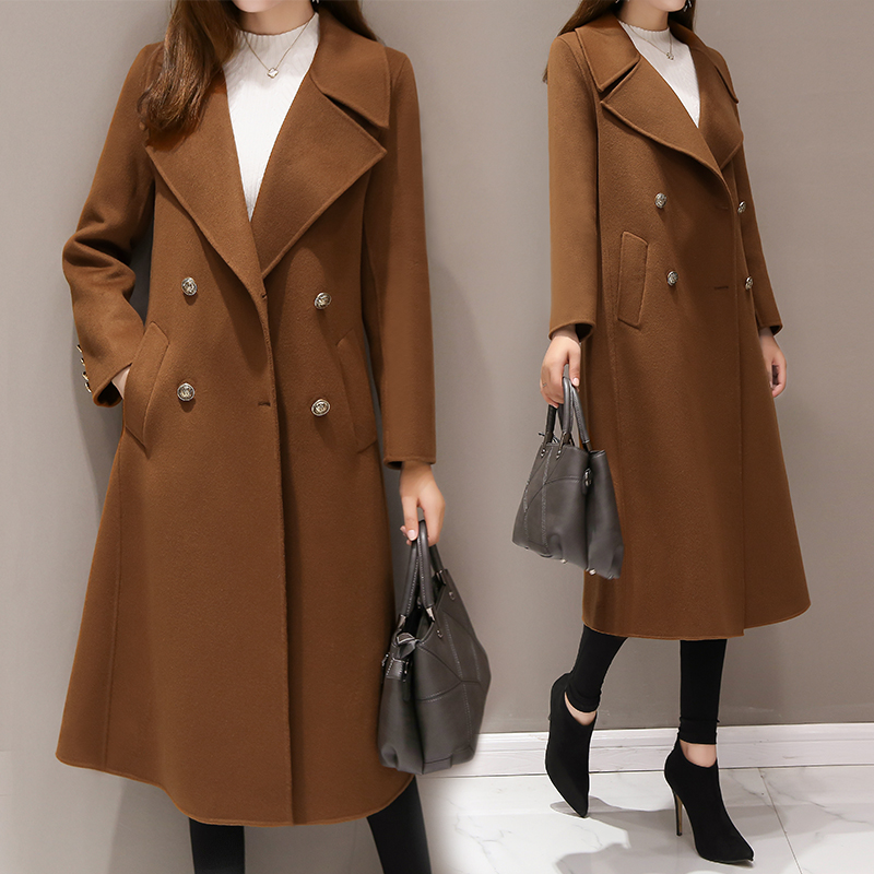 Large size 5XL Women's Wool Long Coats Korean 2019 New Fashion Double breasted Slim Warm Outerwear Coats Casual Winter Jackets-in Wool & Blends from Women's Clothing    3